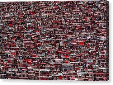 Repeat Canvas Print - Red Houses by Ali Al-jazeri