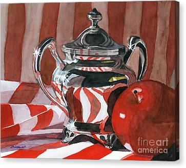 Red In Silver Canvas Print by Lynne Reichhart