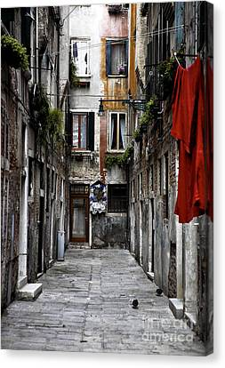 Red In Venice Canvas Print by John Rizzuto