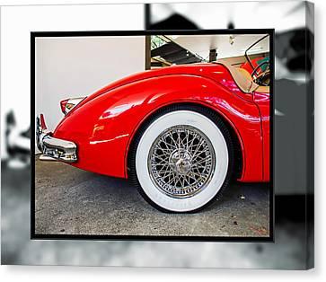Red Jaguar Xk 140 Canvas Print by SM Shahrokni