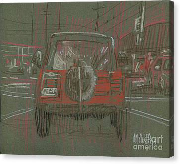 Canvas Print featuring the drawing Red Jeep by Donald Maier