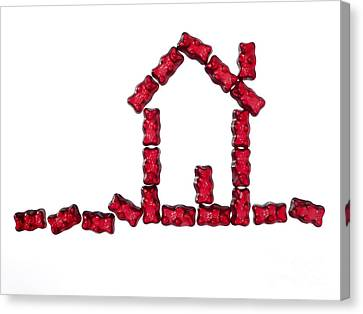 Red Jellybabies Formed As A House Canvas Print
