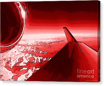 Canvas Print featuring the photograph Red Jet Pop Art Plane by R Muirhead Art