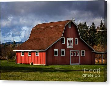Canvas Print featuring the photograph Red Kirsop Barn by Jean OKeeffe Macro Abundance Art