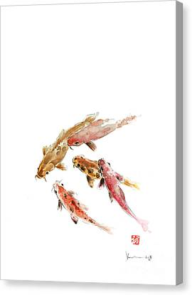 Red Koi Fish Fishes Orange Tangerine Caramel Brown Zodiac Pisces Watercolor Painting Canvas Print by Johana Szmerdt