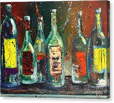 Vino Canvas Print - Red Label  by Jodi Monahan