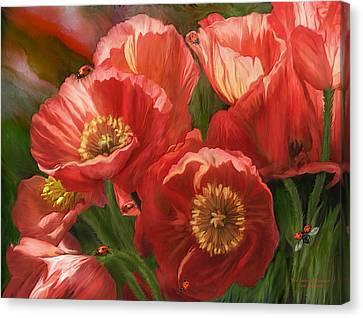 Red Ladies Of Summer Canvas Print by Carol Cavalaris