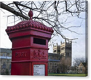 Red Letter Box And Durham Cathedral Canvas Print