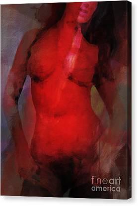 Red Light Nude Canvas Print by Lutz Baar