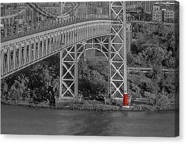 Red Lighthouse And Great Gray Bridge Bw Canvas Print by Susan Candelario