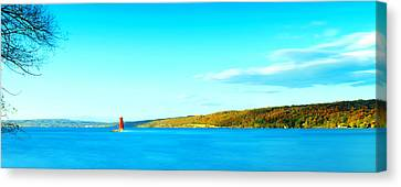 Red Lighthouse In Cayuga Lake New York Panoramic Photography Canvas Print by Paul Ge