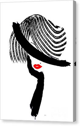 Canvas Print featuring the painting Red Lips by Rafael Salazar