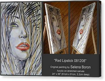 Canvas Print featuring the painting Red Lipstick 081208 by Selena Boron