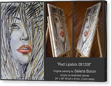 Red Lipstick 081208 Canvas Print by Selena Boron