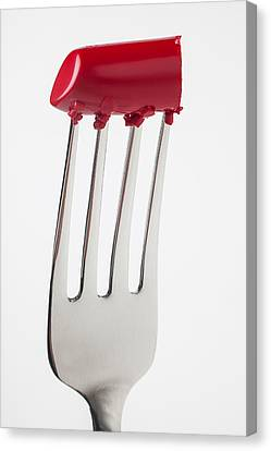 Red Lipstick On Fork Canvas Print by Garry Gay