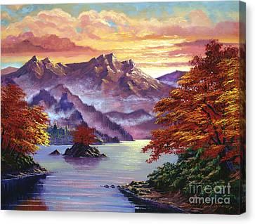 Red Maple Island Canvas Print by David Lloyd Glover