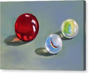 Red Marble And Friends Canvas Print by Joyce Geleynse