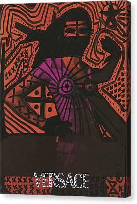 Red Medusa Pop Graffiti Model Canvas Print by Edward X