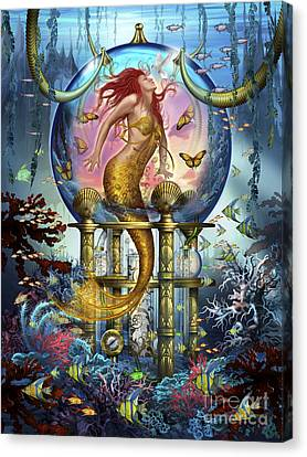 Red Mermaid Canvas Print by Ciro Marchetti