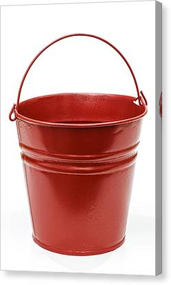 Red Metal Pail Canvas Print by Donald  Erickson