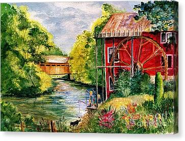 Old Mill Scenes Canvas Print - Red Mill At Waupaca by Marilyn Smith