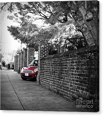 Red Mini Cooper- The Debut Canvas Print by Nancy Dole McGuigan
