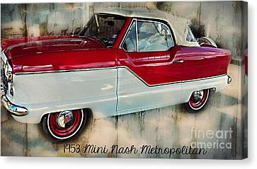 Red Mini Nash Vintage Car Canvas Print by Peggy Franz