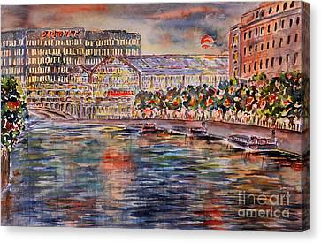 Red Moon Over Berlin Canvas Print by Alfred Motzer