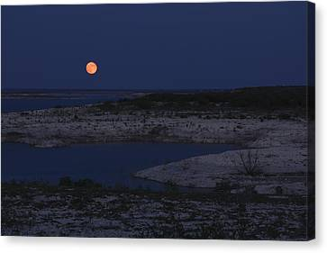 Red Moon Rising Canvas Print by Amber Kresge