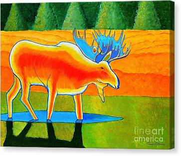 Canvas Print featuring the painting Red Moose by Joseph J Stevens