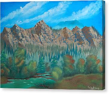 Red Mountain Creek Canvas Print by Peter Kallai
