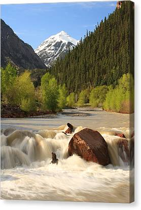 Canvas Print featuring the photograph Red Mountain Snowmelt by Scott Rackers