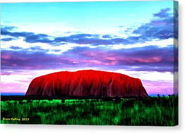 Canvas Print featuring the painting Red Mountain Sunset by Bruce Nutting