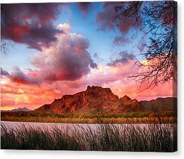 Red Mountain Sunset Canvas Print by John Haldane