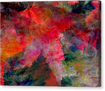 Canvas Print featuring the painting Red Nature Abstract Autumn Leaf by John Fish
