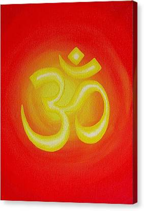 Breathing Canvas Print - Red Om by Michelle Eshleman