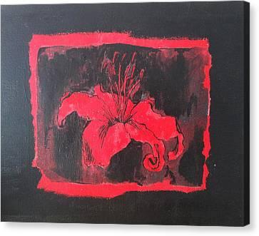 Red On Black Canvas Print by Megan Washington