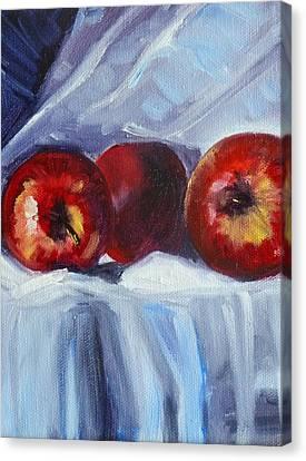 Red On White Canvas Print by Nancy Merkle