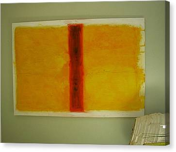 Canvas Print featuring the painting Red  On Yellow by Phoenix De Vries