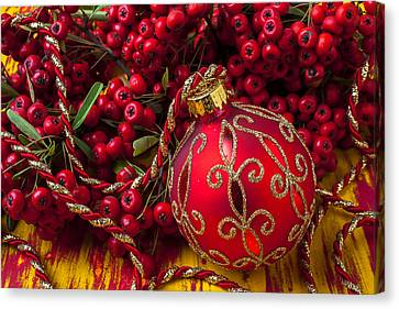 Red Ornament And Berries Canvas Print