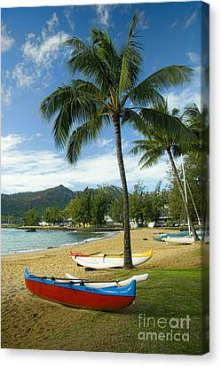 Red Outrigger Canoe In Kauai Canvas Print by David Smith