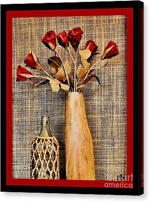 Red Paper Roses Still Life Canvas Print