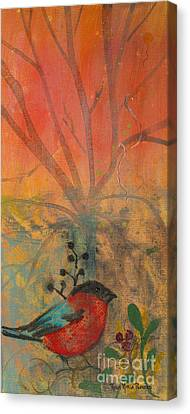 Canvas Print featuring the painting Red Peace Bird by Robin Maria Pedrero