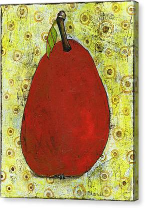 Red Pear Circle Pattern Art Canvas Print by Blenda Studio