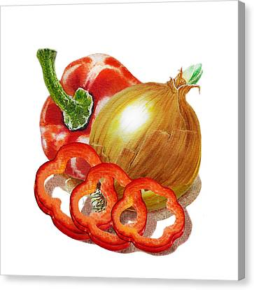 Red Pepper And Onion Canvas Print by Irina Sztukowski