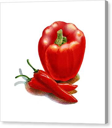Red Pepper Hot Peppers Canvas Print by Irina Sztukowski