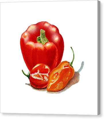 Red Pepper With Hot Peppers Canvas Print by Irina Sztukowski