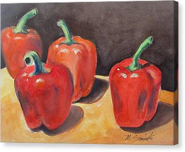 Red Peppers Canvas Print by Melinda Saminski