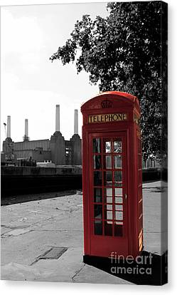 Battersea Power Station And The Red Phone Box Canvas Print by Philip Pound