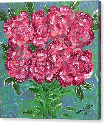 Red Pink Roses Canvas Print by Kathy Marrs Chandler